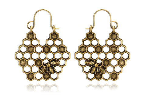 brass Honey Bee Hoops #E45