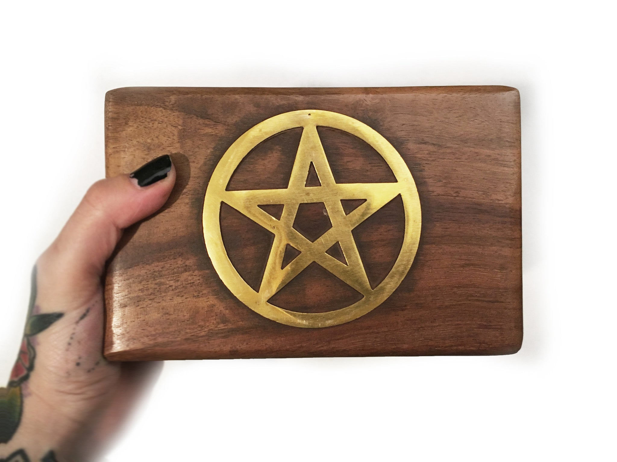wooden Pentacle Brass Box #509
