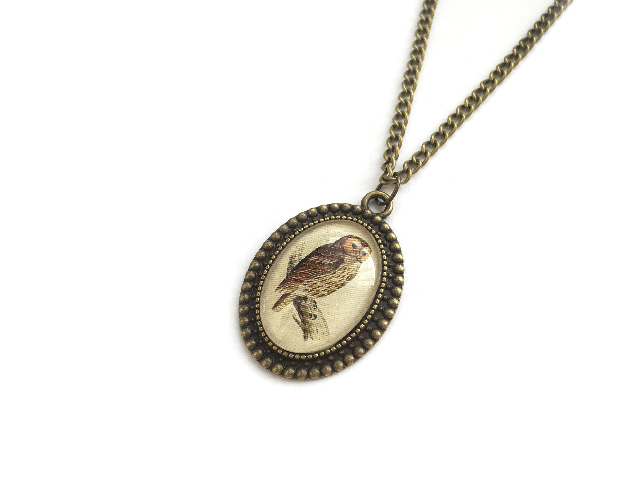 Bronze Vintage Owl Necklace | Fux Jewellery