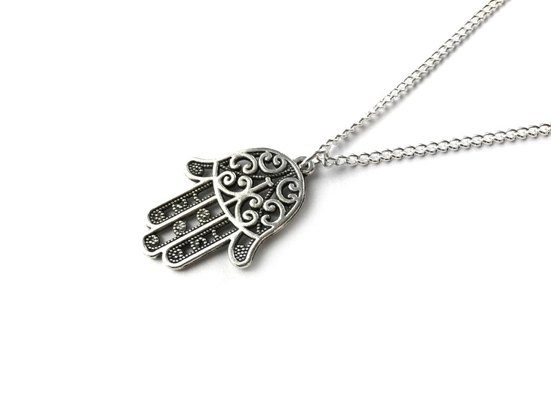 silver Hamsa Hand Necklace #N38 - Fux Jewellery