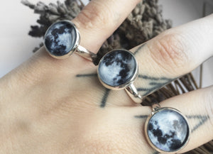 Silver Full Moon Ring #504