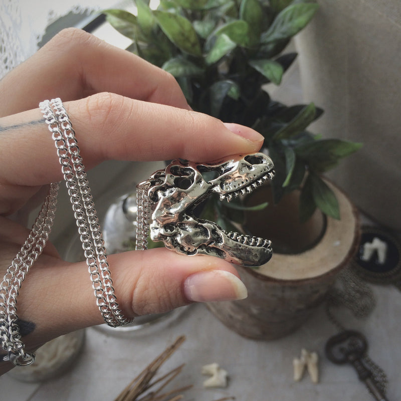 Silver T-Rex Skull Necklace #N29 - Fux Jewellery