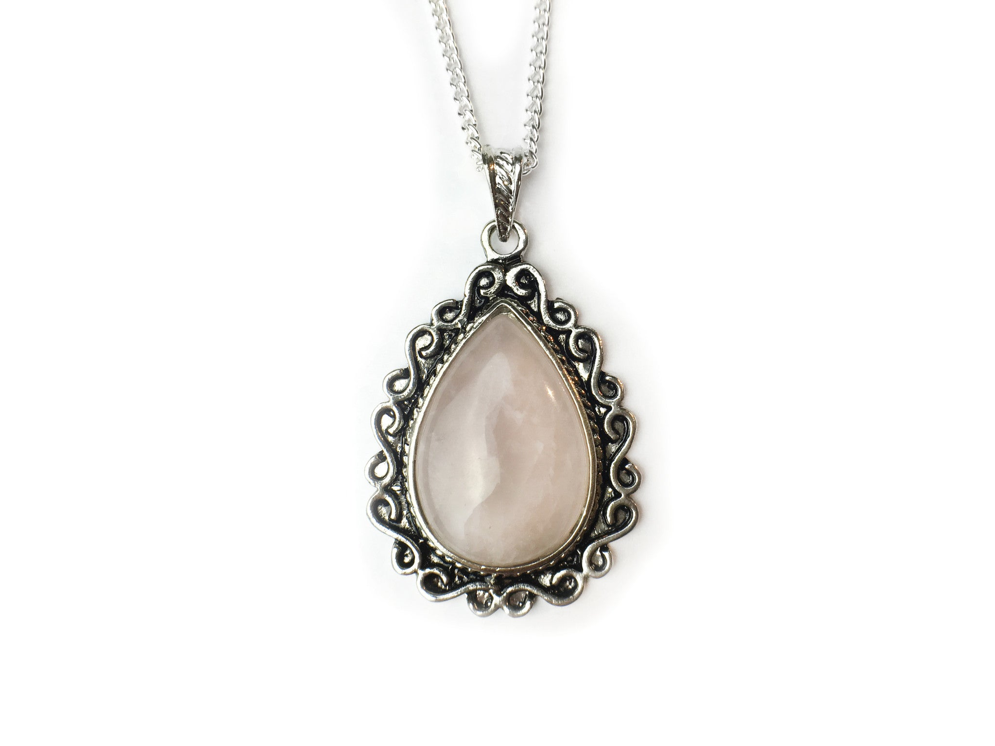 silver Rose Quartz Amulet #522
