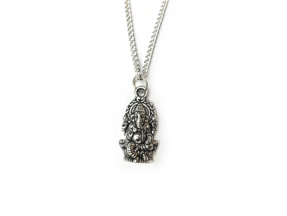 Silver Ganesha Necklace #N40 - Fux Jewellery