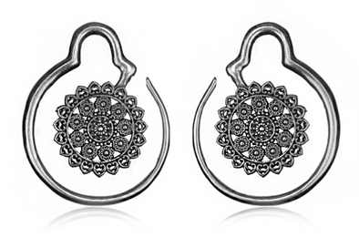 Silver Mandala Ear Weights #EW06-S - Fux Jewellery