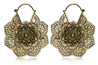 Golden Flower Mandala Earrings #BE14 - Fux Jewellery