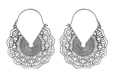 Silver Maya Hoops #BE35 - Fux Jewellery