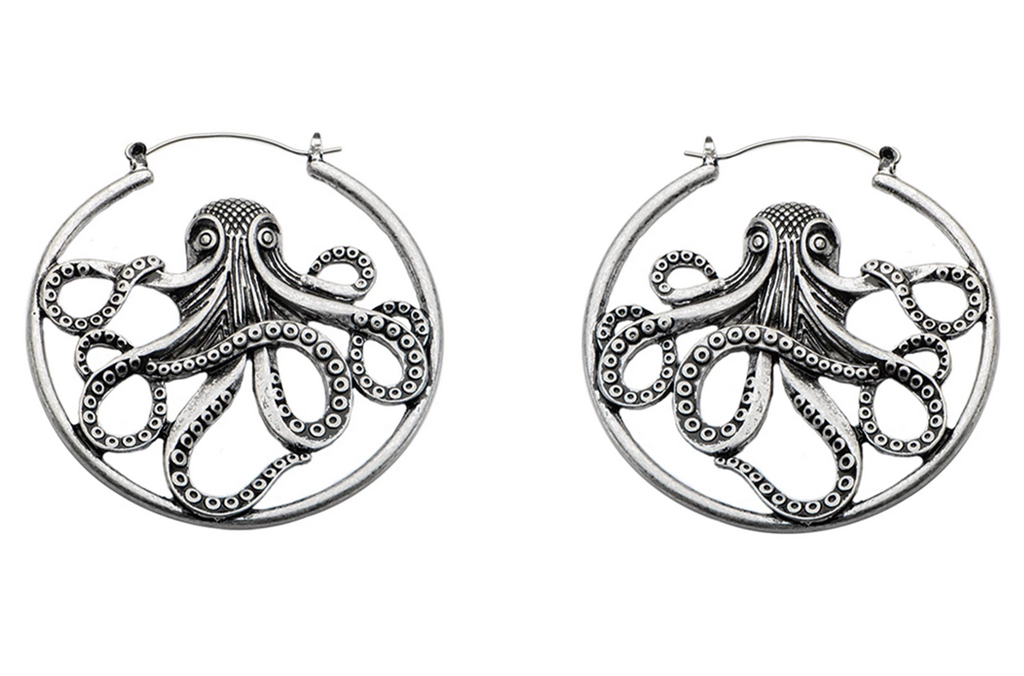 Silver Octopus Hoops #BE33