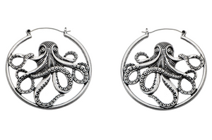 Silver Octopus Hoops #BE33 - Fux Jewellery