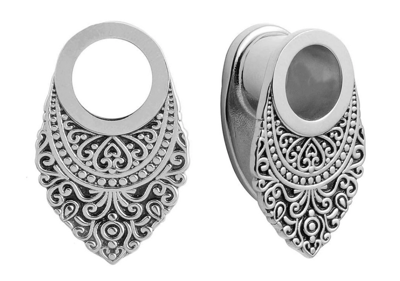Silver Ornament Tunnels • 16mm - Fux Jewellery