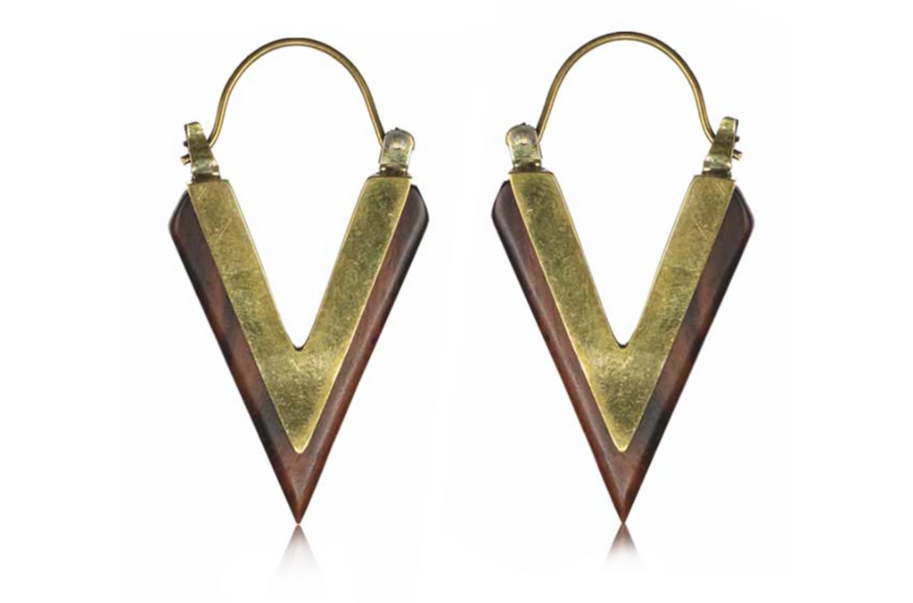 Wood Pointed Hoops #BE29 - Fux Jewellery