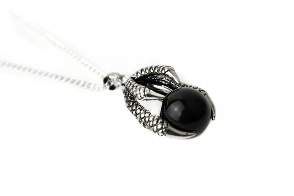 Silver Onyx Claw Necklace #N66 - Fux Jewellery