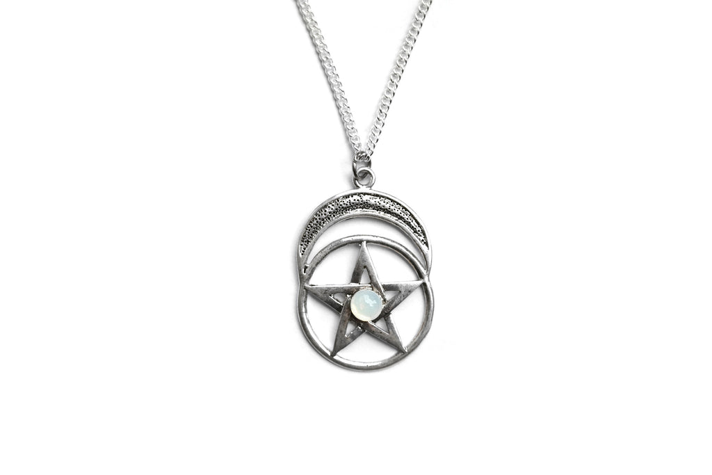 Silver Moonstone Pentacle Necklace | Fux Jewellery