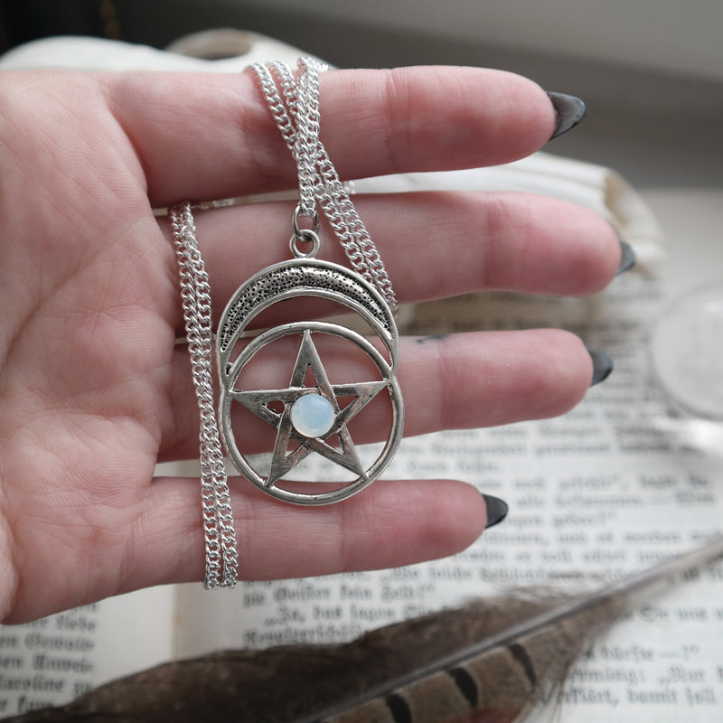 Silver Moonstone Pentacle Necklace #N44 - Fux Jewellery