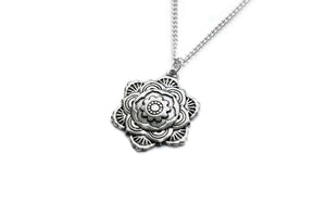 Silver Mandala Flower Necklace #N48 - Fux Jewellery