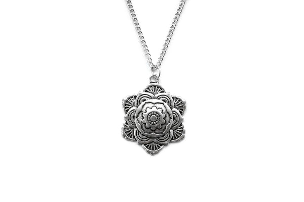 silver Mandala Flower Necklace #584