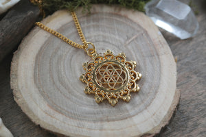 Golden Seed of Life Mandala Necklace #N50 - Fux Jewellery