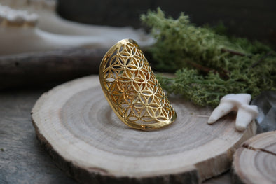 golden 'Flower of Life' Ring #700 - Fux Jewellery