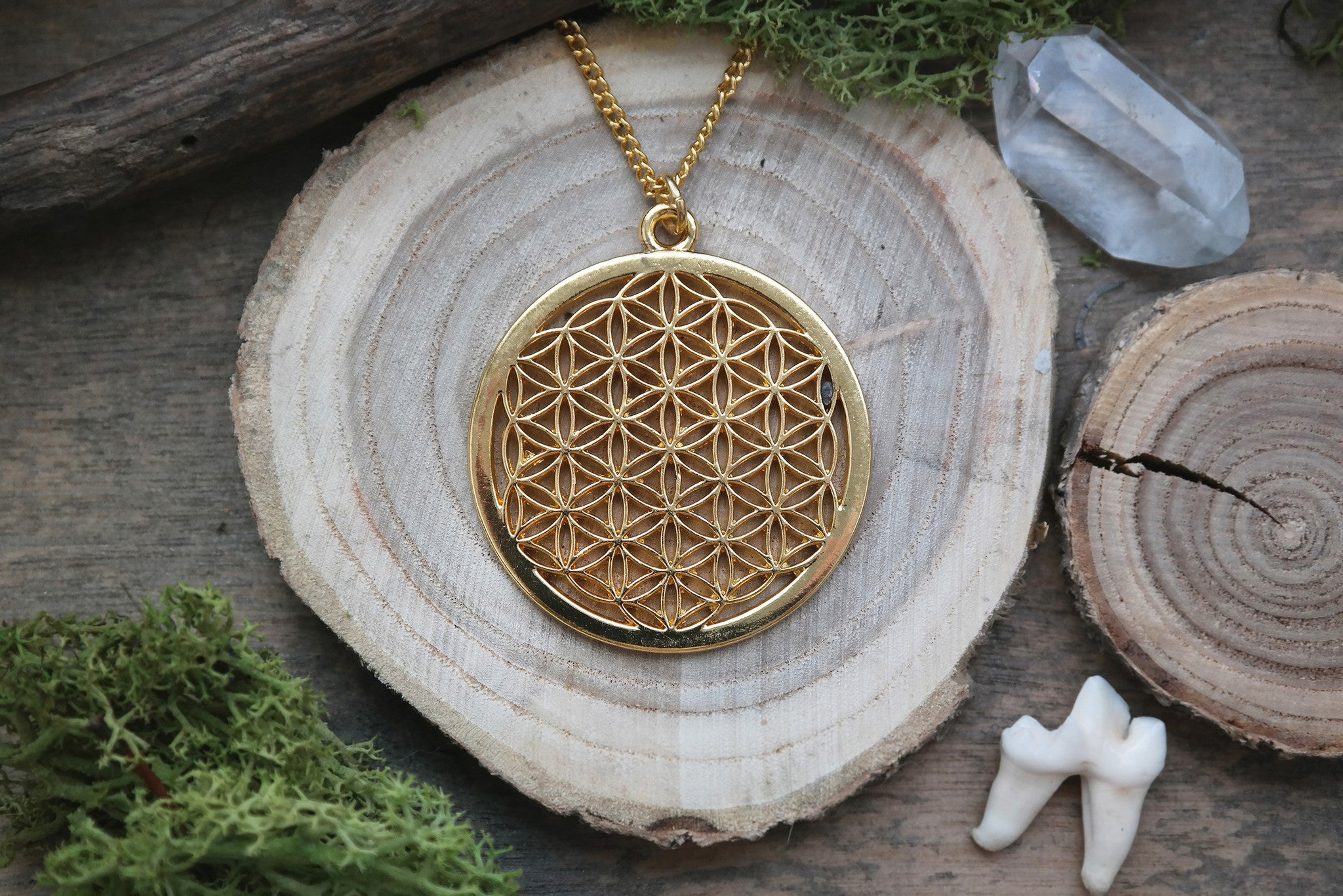 big golden 'Flower of Life' Necklace #598