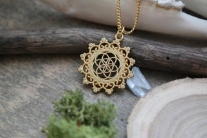 Golden Seed of Life Mandala Necklace #N50