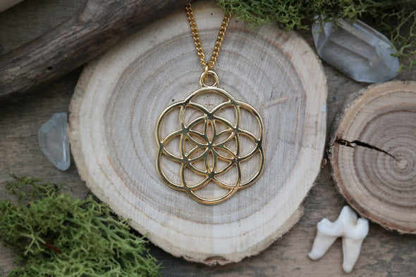 Golden Seed of Life Necklace #N49 - Fux Jewellery
