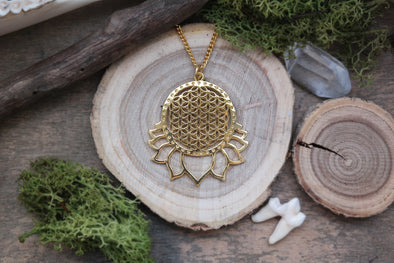 Golden Flower of Life Lotus Necklace #N54 - Fux Jewellery