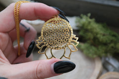 big golden 'Flower of Life' Lotus Necklace #703