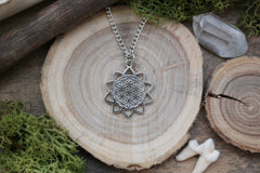 silver 'Flower of Life' Mandala Necklace #705