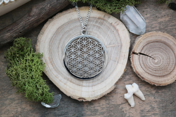 big silver 'Flower of Life' Necklace #599