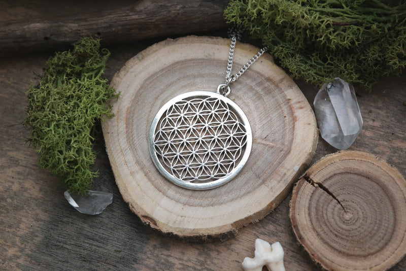 Silver Flower of Life Necklace #N53 - Fux Jewellery