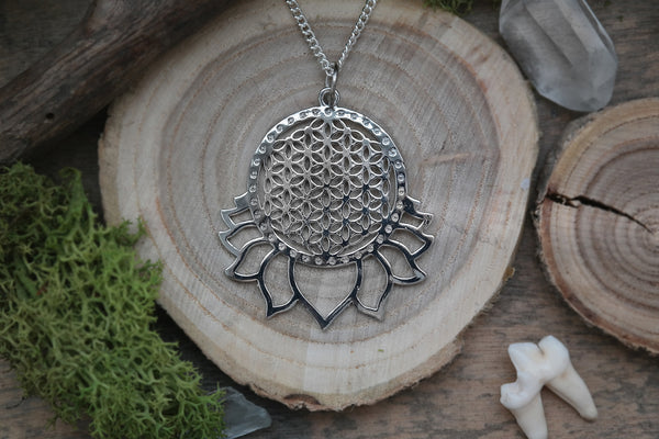 big silver 'Flower of Life' Lotus Necklace #704