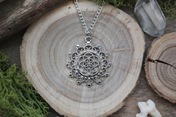 Silver Seed of Life Mandala Necklace #N51 - Fux Jewellery