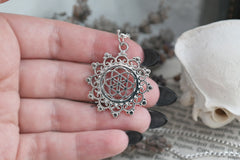 small silver 'Seed of Life' Mandala Necklace #597