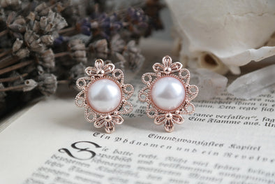 small roségold Pearl Plugs #710 - Fux Jewellery