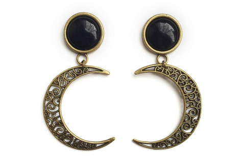 Bronze Crescent Moon Mond Plugs | Fux Jewellery