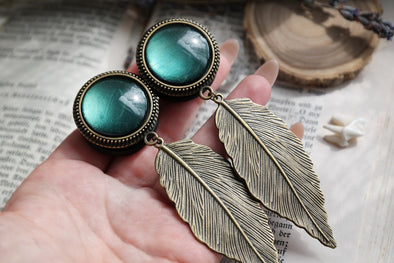 Big Bronze Leaf Plugs #729 - Fux Jewellery