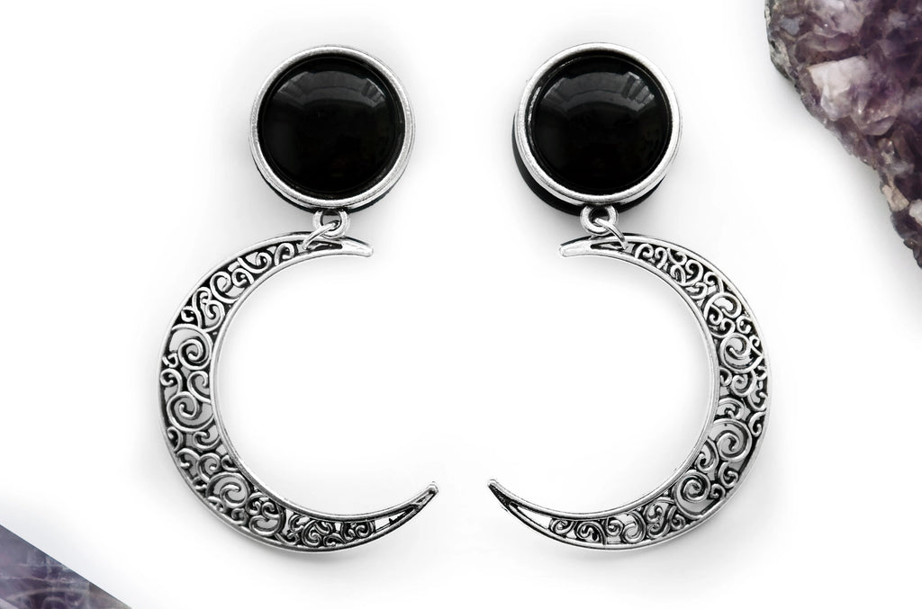 Silver Crescent Moon Earrings #E01