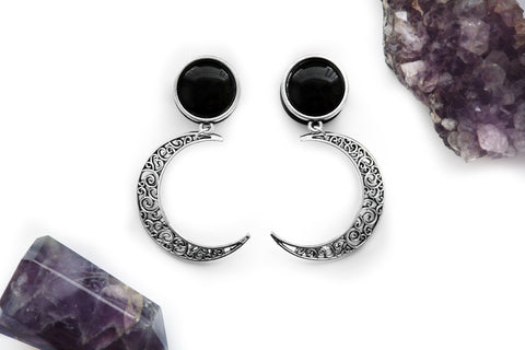 silver Crescent Moon Plugs #730