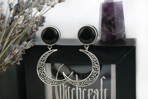 Silver Crescent Moon Earrings #E01 - Fux Jewellery