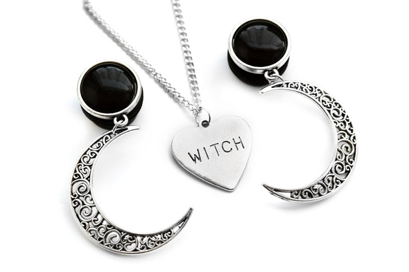 Silver Crescent Moon Plugs #P01-S - Fux Jewellery