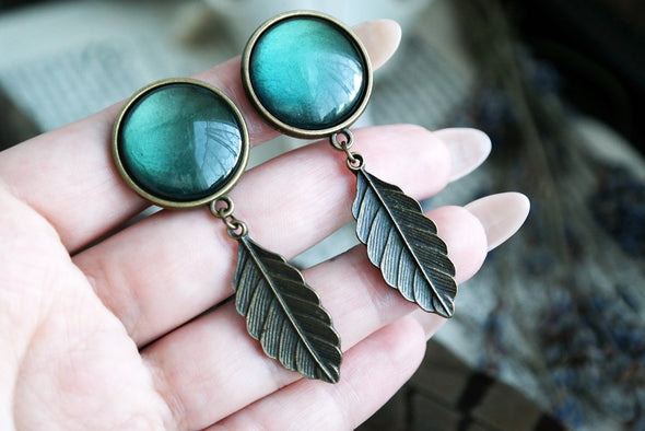 small bronze leaf Plugs #732 - Fux Jewellery
