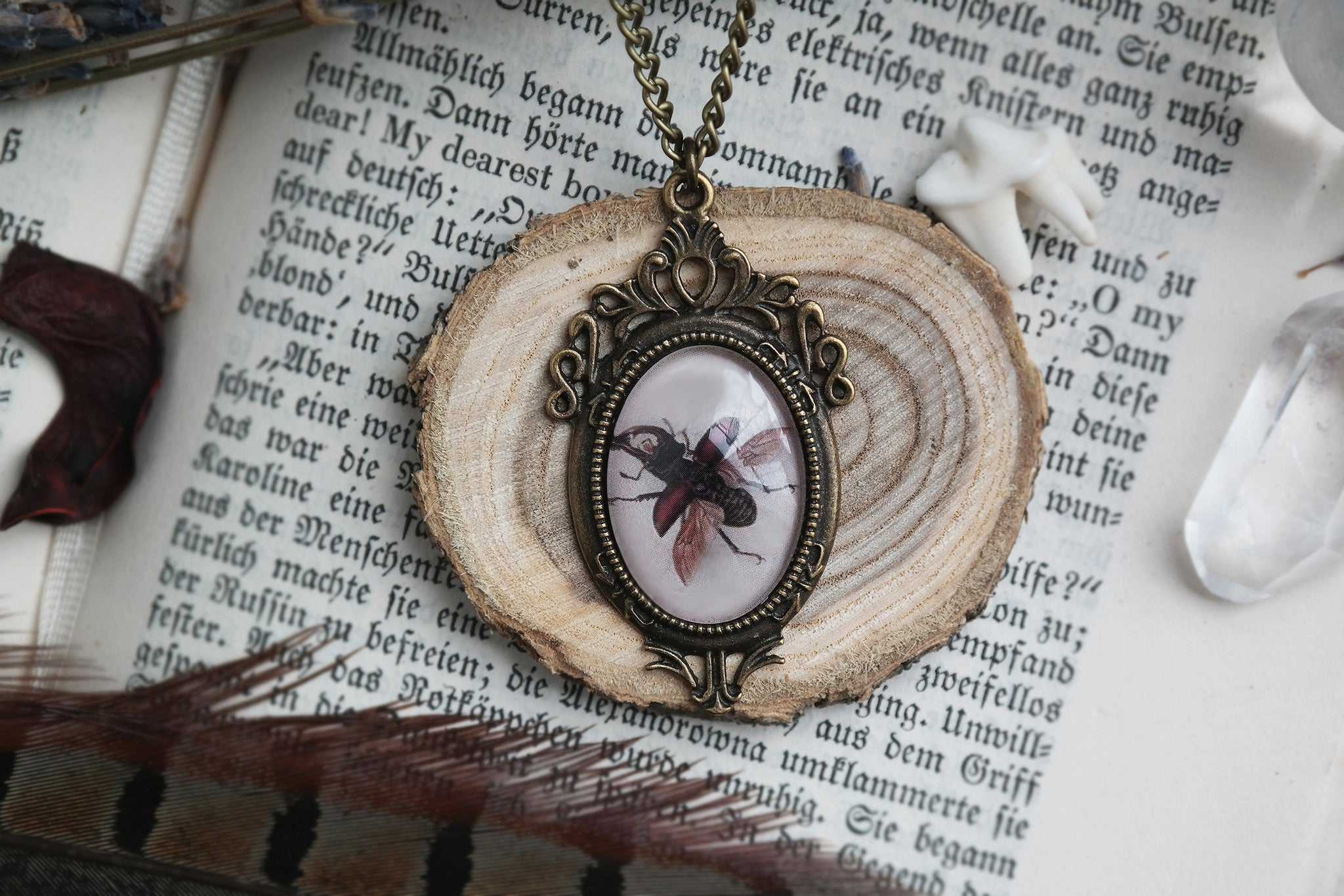 flying Stag Beetle Necklace #743