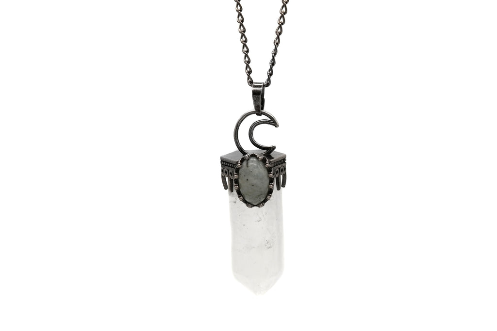 Crescent Moon Clear Quartz Necklace  #N79-C