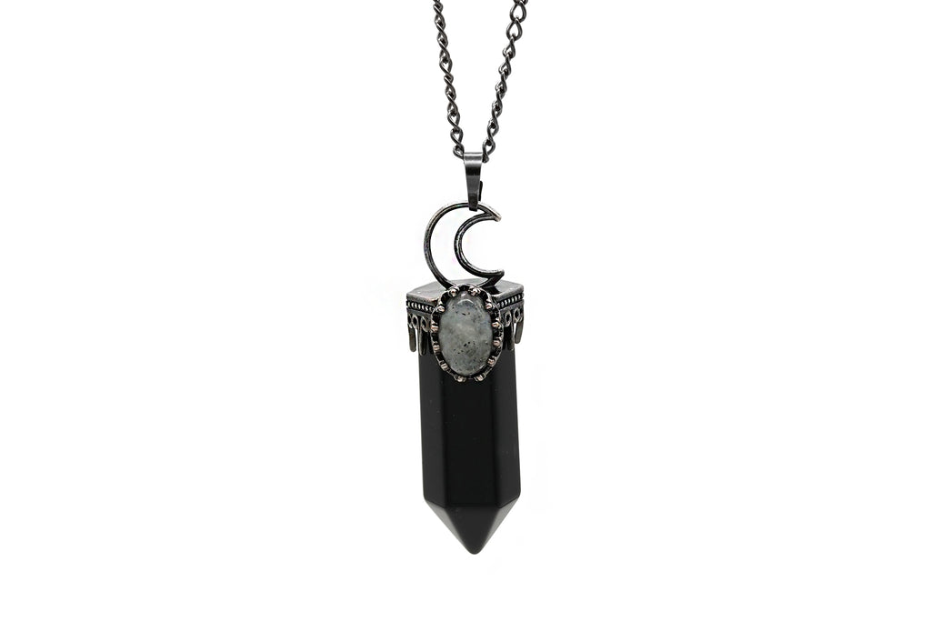 Crescent Moon Onyx Necklace  #N79-O