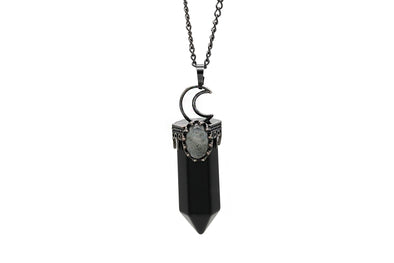 Crescent Moon Onyx Necklace  #N79-O - Fux Jewellery