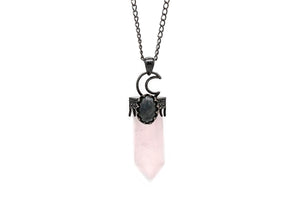 Crescent Moon Rose Quartz Necklace  #N79-R - Fux Jewellery
