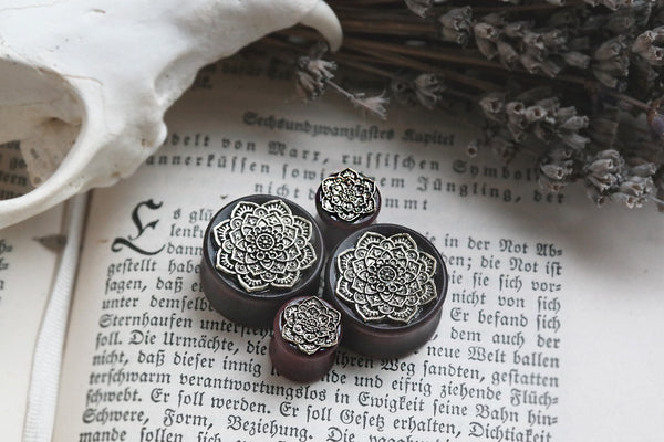 golden brass Mandala wood Plugs #751