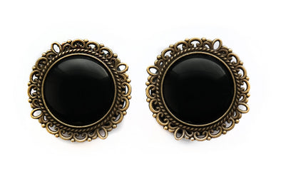 black ornate Plugs #754-b - Fux Jewellery