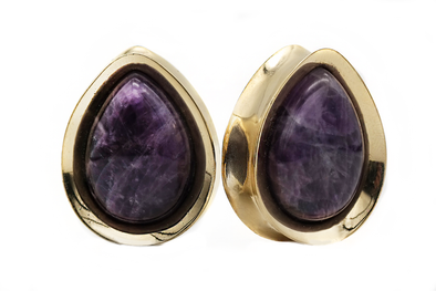 Golden Amethyst Teardrop Plugs #TD02 - Fux Jewellery
