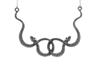 Silver Double Snake Necklace #N71 - Fux Jewellery